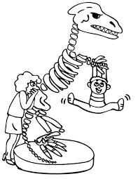 Kid Hang Out At Dinosaur Skeleton Coloring Page Netart