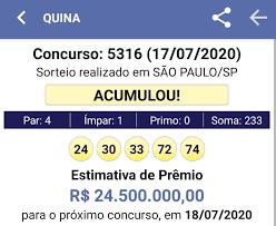Resultado Quina 17/07 Concurso: 5316 - Lotérica Nova Real