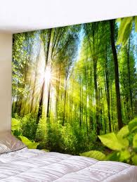 sunlight forest print wall tapestry forest green w91 inch l71 inch