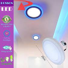 Giảm 22 %】 Đèn Led ốp trần 24w (18w +6w) tròn nổi 2 màu 3 chế độ sáng  trắng+xanh LP-RoW18-B6