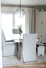 new dining room ikea chairs with gray checked slipcovers
