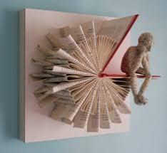 thinker on sundial fold original sculpture folded book artbook