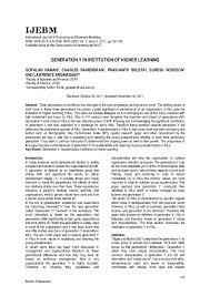 Generation Y Work Ethic Pdf Generation Y In Institution Of Higher Learning Dr