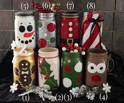 Christmas Decorated Mason Jars