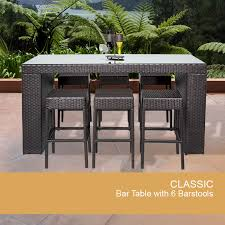 Amazoncom  Outdoor Wicker Bar Table  All Weather Wicker For Outdoor Wicker Bar Furniture