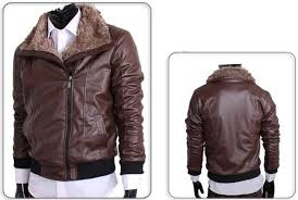 new arrival free mens pu leather coat fur collar warm 8189
