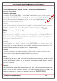 Notes Managerial Communication 3 Business Correspondence And Report
