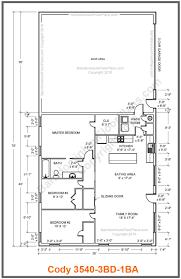 35 By 40 Barndominium Floor Plan 3 Bedroom 1 Bath - Cody  Pinterest