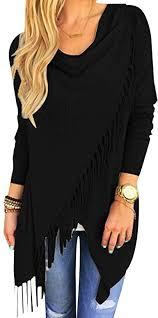 Ezcosplay <b>Chic Long Sleeve Solid</b> Asymmetric Hem Tassel Shirt ...