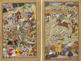 akbar the great emperor of magazine islamic arts magazine left composition by mukund painting by manohar akbar hunting near palam near delhi folio from the akbarnama book of akbar c