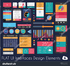 Ui Flat Design Elements Web Infographics Royalty Free