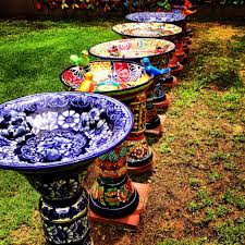 colorful hand painted bird baths