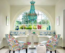 view in gallery saturated pastels in an upscale sitting area