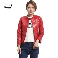 fitaylor women faux leather jacket autumn las leather jackets plus size red black pu er coat motorcycle woman jacket