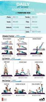 daily at home workout schedule infographic