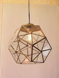 gold glass geometric large pendant light