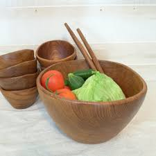 large wood salad bowl set 1970s teak wood salad bowl and utensi