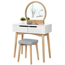 make up dressing table set with round mirror and washable stool cover rdt11k