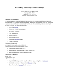 Accounting Internship Accounting Intern Resume Fabulous Objective