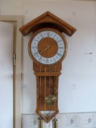 wall clock light oak 1960s