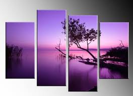 HANDICRAFT PURPLE LAKE 4 PANEL CANVAS PICTURES OIL PAINTING WALL ART DECOR  SPLIT-in Painting & Calligraphy from Home & Garden on Aliexpress.com |  Alibaba ...