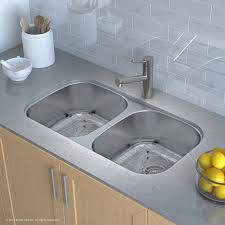 32 x 18 double basin undermount kitchen sink with drain assembly