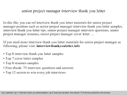 Ideas Collection Senior Project Manager With Thank You Letter After