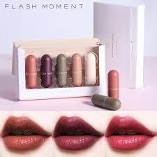 <b>5pcs</b> Matte Lipstick Set Velvet Pocket Capsule Shaped Lip Stick ...