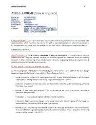 00923314929011; 2. Professional Resume 1 ABDUL JABBAR (Process Engineer) ...