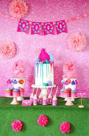 trolls party table from a trolls birthday party with free printables on kara s party ideas