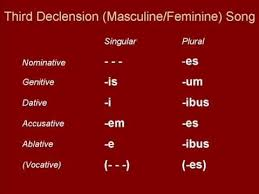 Latin 3rd Conjugation Chart Third Declension Masculine And Feminine Song Songs Feminine