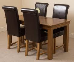 rustic leather dining chairs. French Chateau Rustic Solid Oak 150cm Dining Table With 4 Washington Chairs [Brown Leather