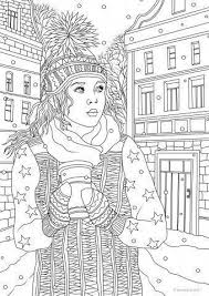 Winter Girl Coloring Pages Printable Adult Coloring Pages Adult