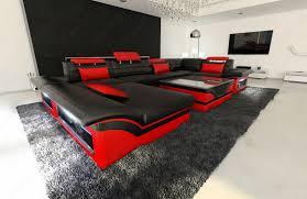 Details Zu Ledersofa Ecksofa Big Sofa Enzo U Form Ecksofa Couch Garnitur Led Schwarz Rot