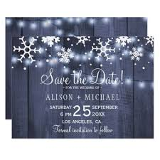 Winter Wedding Save The Date Rustic Lights Snowflakes Winter Wedding Save Date Save The Date