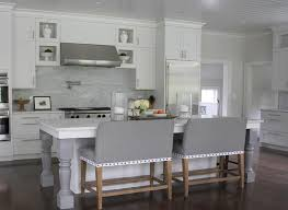 White Kitchen Island With Gray Turned Legs Transitional Kitchen