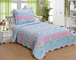 Kids' Boys and Girls Twin Size Polyester Double Sides 2pcs ... & Kids' Boys and Girls Twin Size Polyester Double Sides 2pcs Bedspread Quilt  Coverlet and Sham Adamdwight.com
