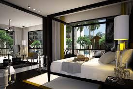 master bedroom with bathroom brown rug grey wall grey curtains large grey rugs elegant low profile