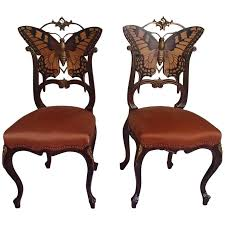 art nouveau furniture. Beautiful Furniture Pair Of Early Art Nouveau Butterfly Chairs Inlays And Brass For Sale To Furniture