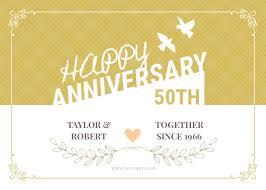 Template Anniversary Card Happy 50th Wedding Anniversary Greeting Card Template Fotojet