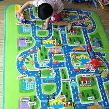 kids play rugs with roads waterproof mats baby kids rug city carpet car play mat track
