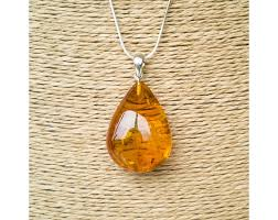 cognac color amber pendant with a twist