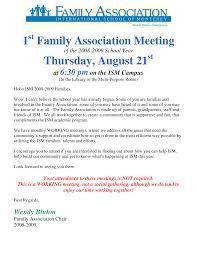 1 Family Association Meeting Thursday, August 21