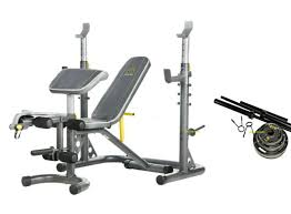 Gold Home Gym Xrs20 Olympic Weight Bench Press Fid W Squat Rack 110lb Plates