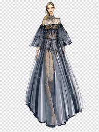 Black Couture Fashion Designers Character Wearing Black See Through Dress Illustration