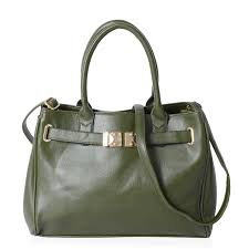 nik s pick dark green faux leather satchel bag with removable shoulder strap and standing studs 14x6x10 5 in lc