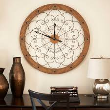 household essentials wall clock with scroll panel