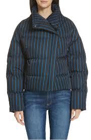 asymmetrical stripe puffer jacket