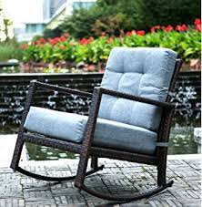 rocker patio chairs. merax cushioned rattan rocker chair rocking armchair outdoor patio glider lounge wicker furniture with chairs s