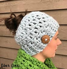 Bulky Yarn Crochet Hat Patterns Simple Ravelry Chunky Messy Bun Hat Pattern By Fiber Flux Jennifer Dickerson